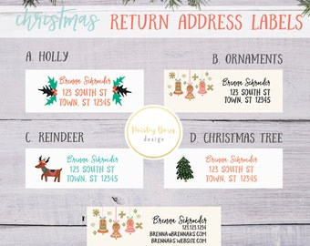 Christmas RETURN Address Labels | Personalized, Vintage designs, Consultant info optional, R+F, Retro, Kitsch