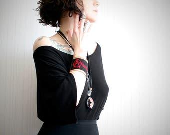 wide leather cuff // anarchy bracelet // men's cuff // red and black bracelet // cross stitch bracelet // punk cuff // women's leather cuff