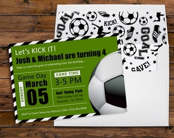 Soccer Party, Game Day, Party Invitation, Block Format, Boy Birthday, Soccer Ball, Sports Party, Printable Digital, Printed Invites