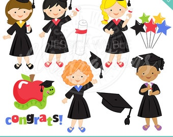 Graduation Girls Cute Digital Clipart, Graduation clip art, Girls Graduation graphics, Graduation Cap Clipart, Instant Digital Download