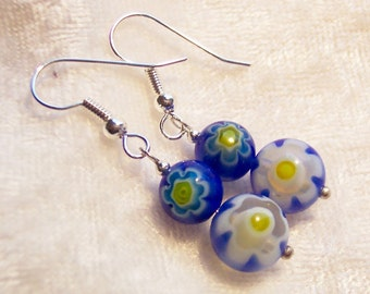 Blue Earrings, Millefiori Earrings, Blue and Yellow Millefiori Bead Earrings, Glass Flower Earrings, Millefiori Earrings, Clip ons Available
