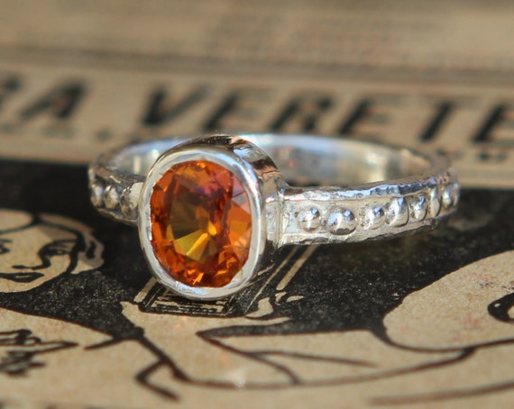 Archaic Series Aged Hand Forged Beaded 1.20ct Orange Sapphire Sterling Silver Ring Size 5