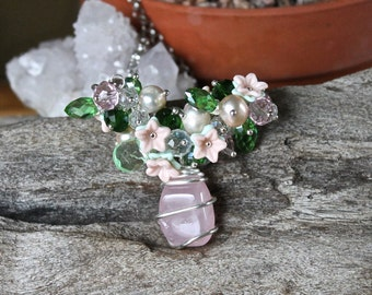 Rose Quartz Necklace - Pink & Green Beaded Necklace - Flower Jewelry - Elegant Wedding Jewelry - Hippie Necklace - Gypsy Jewelry - Boho Chic