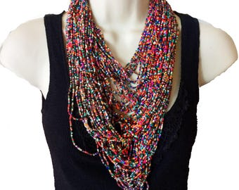 Large Multicolored necklace,Rainbow Long and layering Extra large beaded bib necklace,Bohemian style,modern gypsy, Statement jewelry Taneesi