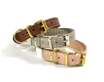 Real Leather Cat Kitten Pet Collar Handmade In Natural Pink Brown & Taupe
