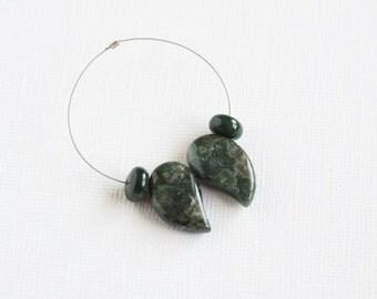 Green Ocean Jasper Drop Beads 4 pcs 20x12mm Top Drilled Forest Green Jungle Green Comma Shape Drops 8mm Bloodstone Rondelles Natural Stone