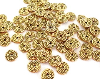 Tibetan Gold Saucer Spacer - Gold Flat Rondelle Beads - Center Hole Bead Cap - Twisted Rope Shape - Diy Jewelry Findings - 10mm - 25 Pcs