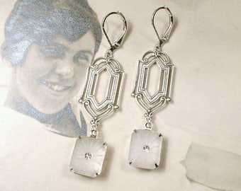 Art Deco Vintage Camphor Glass Pendant Dangle Earrings, Antique Silver Long Bridal Drops 1920s 1930 Edwardian Jewelry Great Gatsby Wedding