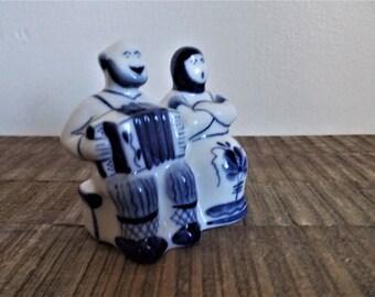 Vintage Gzhel Russian Handmade Figurine Souvenir Accordion Couple