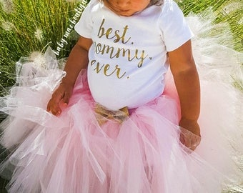 Our First Mothers Day, Baby Girl Mothers Day Outfit; Gerber ® Onesies ® brand; Best Mommy Ever Bodysuit, Skirt and Headband; Glitter Bow