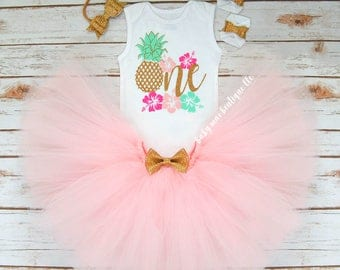 Pineapple First Birthday Outfit Girl; One Birthday Tutu Outfit; Gerber ® Onesies ® brand; Baby Girl First Birthday Outfit; Pineapple One