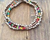 Set of 3 Seed Bead Stacking Bracelets: Bronze and Multicolored Beads