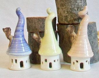 Garden Fairy Houses - Mini Houses with Tall Curly Roofs and Chimneys - Pastel Houses - Pink - Yellow - Lavender - Handmade, Ready to Ship