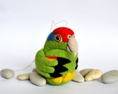 CUSTOM - Red Crowned Amazon Parrot, needle felted bird, wool ornament ball