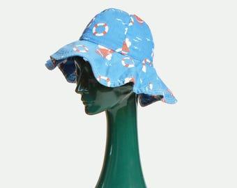Vintage 60s MOD Floppy Cotton Sailboat Print HAT / 1960s Wide Brim Sun Hat