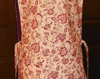 Nice Kitchen Cobbler Lined Apron Smock Wine and Pink Floral Handmade for Kitchen Cooking Craft Activities Excellent Clothes Protector