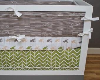 Baby Boy Outdoor Crib Bedding, Deer Baby Bedding, Baby Boy Nursery Crib Set, Green, Brown, Tan, Olive, Deer Antler Hunting Forest Wood Grain