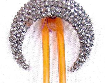 Vintage Victorian hair comb cut steel crescent moon hair accessory hair jewelry hair pin hair pick hair fork