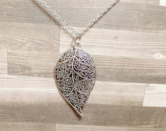 Ornate Leaf Necklace - Detailed Leaf Necklace - Silver Leaf Pendant