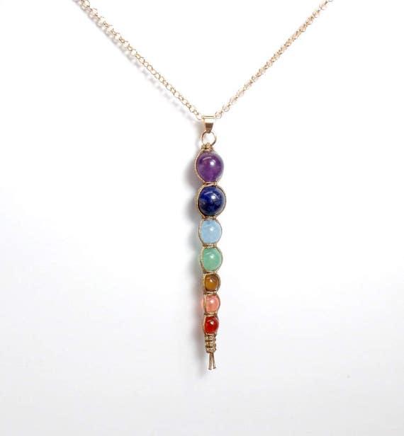 Chakra Drop Pendant Necklace - Seven Chakra Necklace - Gemstone Necklace