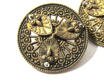 """Victorian Cut Steel & Brass BUTTONS Two (2) Cut Steel Accents Pierced Floral Design 1  1/16"""" Buttons Wedding Jewelry Sewing Supplies (M88)"""
