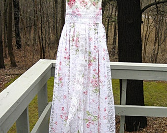 Pink and white floral romantic wedding dress formal dress, prom dress, formal dress, Beau Fleur, lace/vintage cotton, 36 inch bust