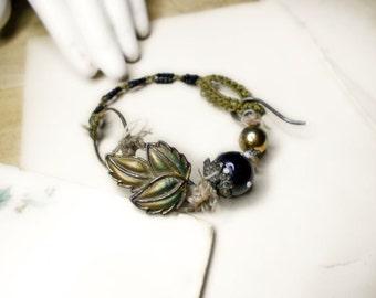 Beaded Bracelet - Rustic Assemblage Bracelet - Lampwork Glass, Vintage Metal Leaf, Metal Bead - Black Seed Beads, Vintage Army Macrame
