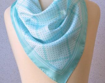 Vintage square scarf: Sky blue, geometric, white, modern