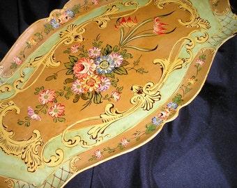 Vintage Stunning XLG. Flower Design 40s.Japan Paper Mache Tray.Hallmarked.Fabulous.