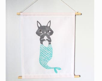 ANY of my multi colored block prints a Fabric Wall Hanging. Choose any print in any colors.