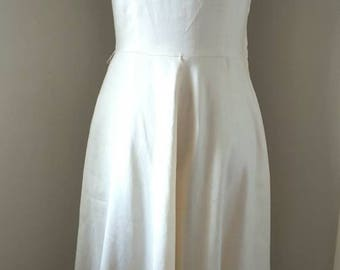 Vintage 80s Cream and Linen Dress