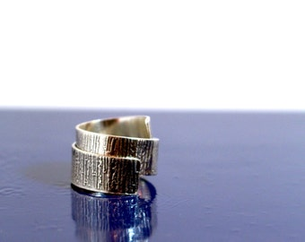 Bamboo etch sterling silver texture wrap ring - handmade