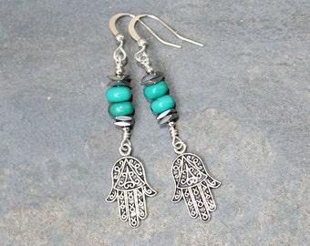 Turquoise Earrings, Hamsa Earrings, Blue Earrings, Middle Eastern Earrings, Beaded Earrings, Natural Stone Earrings, Handmade Earrings