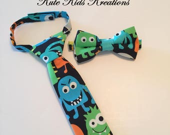 Boy's Monster Necktie or Bow Tie, Ready to Ship