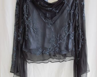 Blue Beaded Evening Top Sheer Silk Long Sleeve Midnight Blue Blouse Size Large Cut On Bias