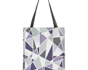 Geometric Tote Bag, gray, lavender and purple tote bag
