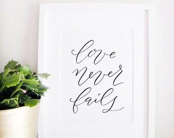 Wedding Sign Calligraphy Print - Wedding Reception Decor - Reception Sign - Wedding Decor - Love Never Fails