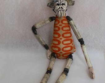 Original Art Handmade OOAK Articulated Lowbrow Creepy Skeleton Figure Doll Grungy Skull with Wooden Arms and Legs Clay Fetish Free Ship USA