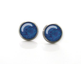 Titanium Earrings Royal Blue Polka dot pattern | Hypoallergenic Earring Stud | Titanium Earring Stud | Titanium earrings for sensitive ears