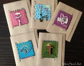 Hand Embroidered Mixed Media Greeting Cards, Blank Greeting Cards, Mexican Folk Art Cards, Religious Cards