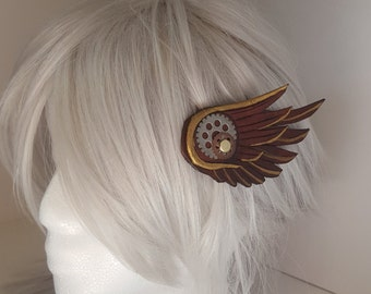 SteamPunk Wings-leather hair clips