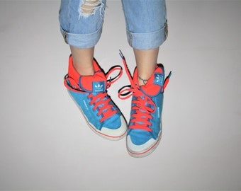 Adidas 1990s Vintage NEON Blue Colorblock Graphic Hightop Fold Over Sneakers Running Shoes -  Vintage 90s Neon Runners  -  Canvas Shoes