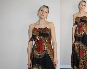 Tribal Dashiki Vintage 1960s Brown and Black  African Wax Print Convertible Strapless Maxi Dress - 60s Clothing - WV0199