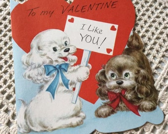 Vintage 1950s Valentine Card 2 Puppies With A Red Heart Collectible Paper Ephemera Art Craft Scrap Booking