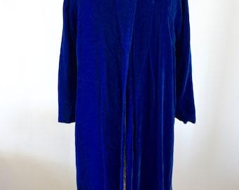 ROYAL Blue Velvet Long Maxi Coat Cape Dress Jacket RUNWAY Street Style