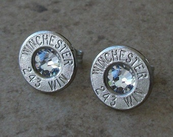 Winchester 243 Nickel Bullet Earring, Lightweight Thin Cut, Clear/Diamond Swarovski Crystal, Surgical Steel Posts - 486