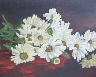 Vintage framed original oil painting daisies on burgundy back round gold gessoed frame