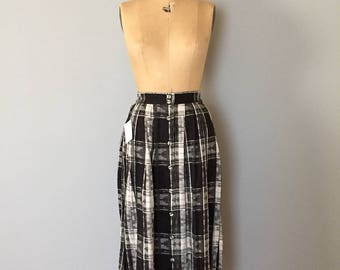 ethnic print skirt | ornament plaid black and white skirt | maxi skirt