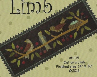 Primitive Folk Art Wool Applique Pattern:  OUT on a LIMB - Design by Bonnie Sullivan