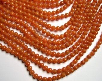 Red aventurine  - 8 mm round beads -1 full strand - 48 beads - A quality - Orange - RFG558